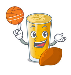With basketball lassi mango in a cartoon glass vector
