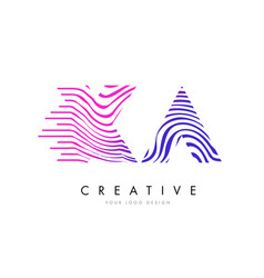 Xa x a zebra lines letter logo design with vector