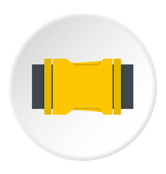 Yellow side release buckle icon circle vector