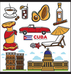 cuba travel sightseeing icons and havana vector image