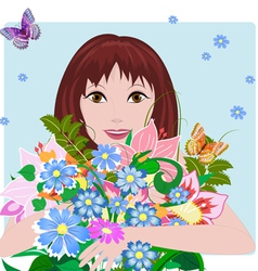 woman bouquet3 vector image vector image