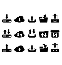 black download and upload icons set vector image vector image