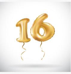 Golden number 16 sixteen metallic balloon party vector