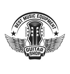 guitar shop label template guitar head with wings vector image vector image