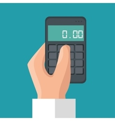 hand holding calculator money save icon vector image
