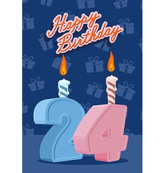 Happy birthday card with 24th birthday vector image vector image