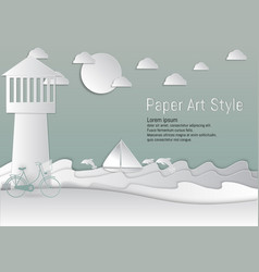 paper art style lighthouse and sea with sailboat vector image