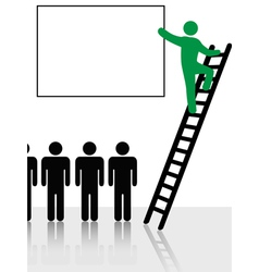 person climbs a ladder vector image vector image