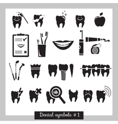 Set of dentistry symbols part 1 vector image