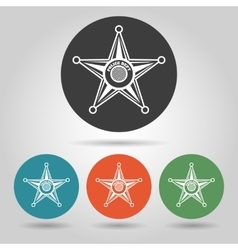 Sheriff star badge icons set vector image