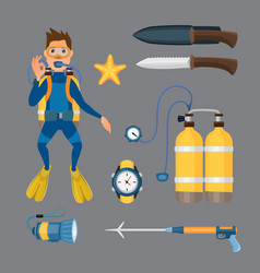 spearfishing diving equipment set vector image vector image