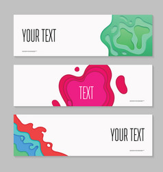 abstract paper cut layered horizontal banners vector image