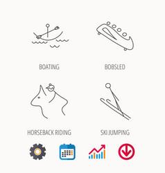 Boating horseback riding and bobsled icons vector