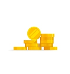 Coins stack icon flat pile vector image vector image