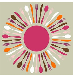 Colorful cutlery restaurant mandala vector image vector image