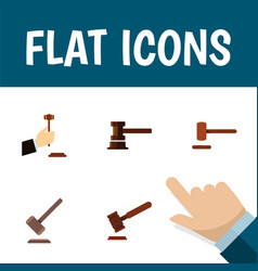 flat icon hammer set of law tribunal defense and vector image vector image