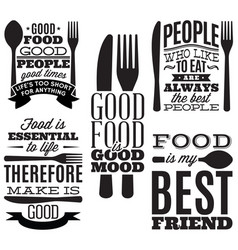 set of vintage typographic food quotes for menu or vector image vector image