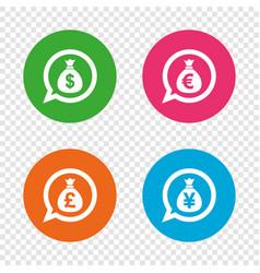 money bag icons dollar euro pound and yen vector image