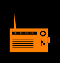 radio sign orange icon on black vector image