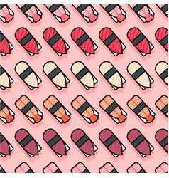 seamless pattern sushi pink vector image vector image