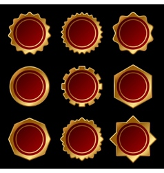 Set of Golden Blank Seal Wax Stamp vector image vector image