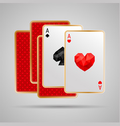 two aces in five playing cards winning poker hand vector image vector image