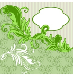 Vintage card with green floral background vector image