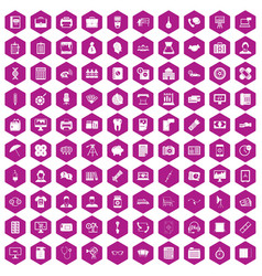 100 department icons hexagon violet vector