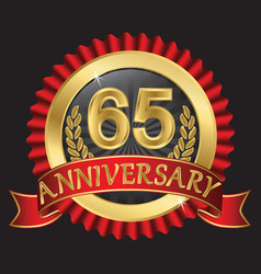 65 years anniversary golden label with ribbons vector