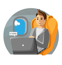 a man sits on a plane in business class vector image