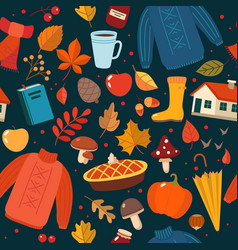 autumn hand drawn seamless pattern with seasonal vector image