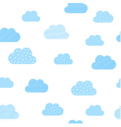 Baby boy blue clouds pattern background baby vector