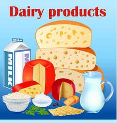 background set dairy products with cheese sour vector image