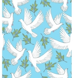 background with doves and olive branches vector image