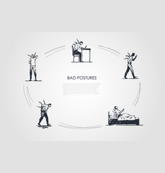 bad postures - man sitting standing and lying in vector image