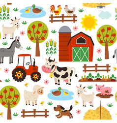 Basic rgbseamless pattern with farm animals vector