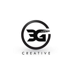 bg brush letter logo design creative brushed vector image