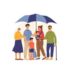 big family under giant umbrella safety concept vector image