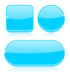 Blue buttons round square and oval shiny icons vector