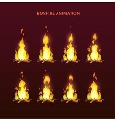 Bonfire animation sprites vector image