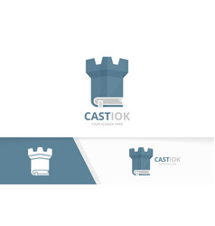 Book and castle logo combination tower and vector