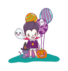 boy with vampire costume and ghosts with pumpkin vector image
