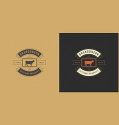 butcher shop logo head vector image