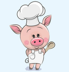 caroon pig in a cook hat with spoon vector image