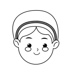 Cartoon face woman manger christmas line vector
