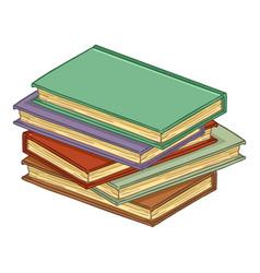 cartoon pile hardcover books vector image