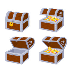 Cartoon pirate wooden chests with gold treasure vector
