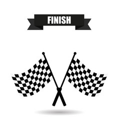 checkered flag finish with shadow vector image