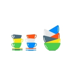 Clean cups and dishware vector image