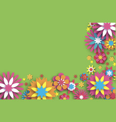 Colorful floral card paper cut flowers border vector